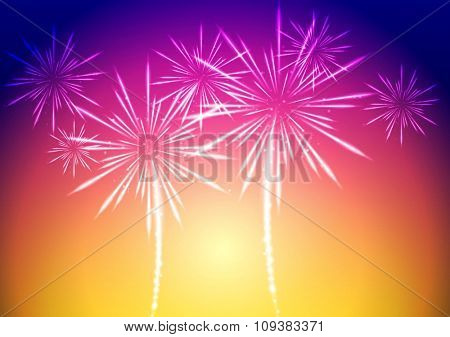 Bright abstract fireworks background. Vector design