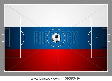 Bright soccer background with ball. Russian colors football field. Vector design