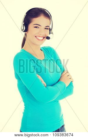 Young happy call center woman.