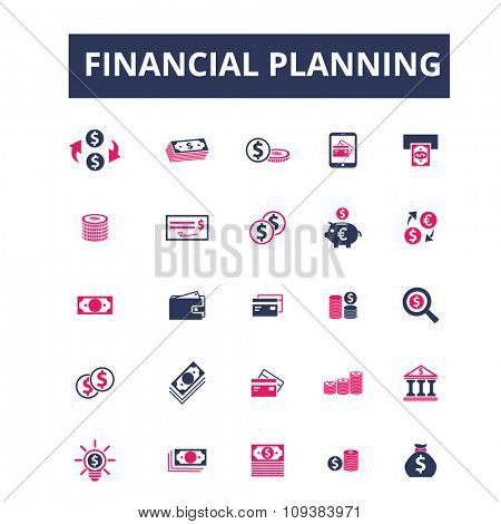 financial planning, personal finance  icons, signs vector concept set for infographics, mobile, website, application