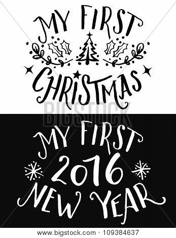 My First Christmas And New Year Lettering Set