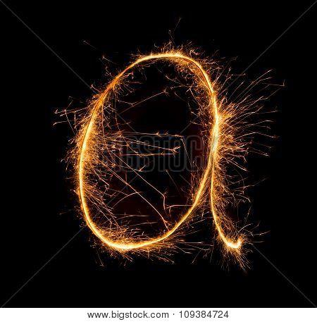 Sparkler Firework Light Alphabet A (small Letters) At Night
