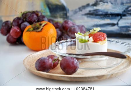 Fruits Pudding Serve On Tray