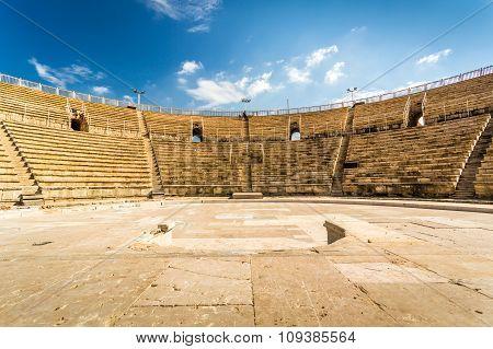 Amphitheater In Cesarea National Park, Israel