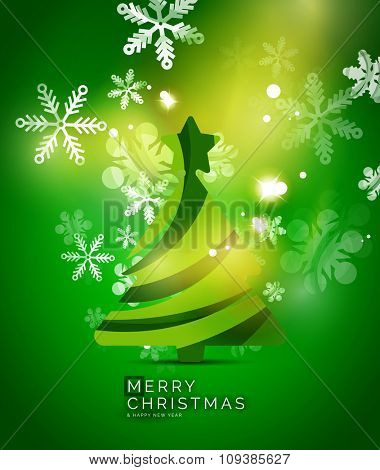 Christmas tree, green shiny abstract background. Vector holiday illustration