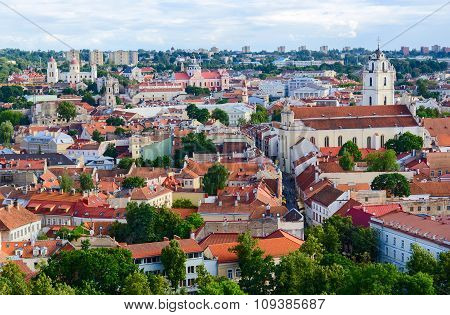 Vilnius, Panoramic View Of  Old Town From Tower Of Gediminas