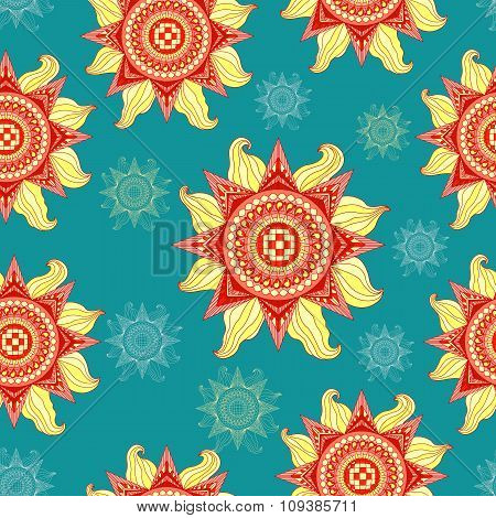 Colorful Summer Sun Seamless Pattern On Aquamarine Background