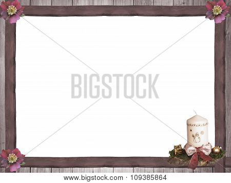 Wooden Frame With Christmas Roses And Advent Spray