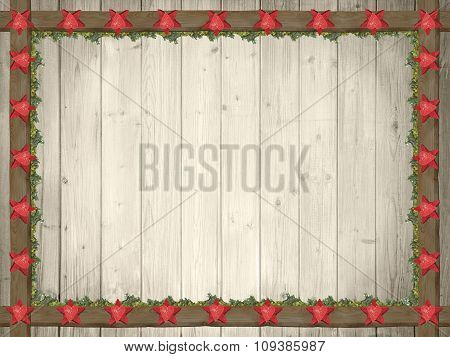 Rustic Wooden Background With Red Stars And Green Thuja