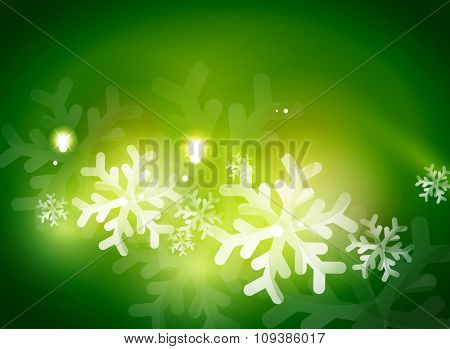 Holiday green abstract background, winter snowflakes, Christmas and New Year design template, light shiny modern vector illustration