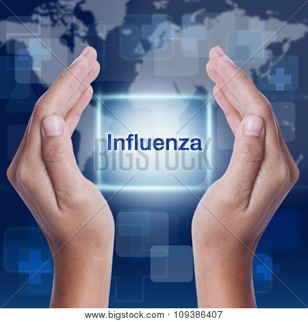influenza word button on screen. medical concept