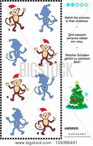 Shadow game with christmas monkeys