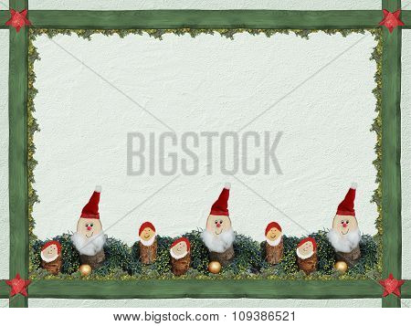 Christmas Background With Wooden Frame And Cute Dwarfs