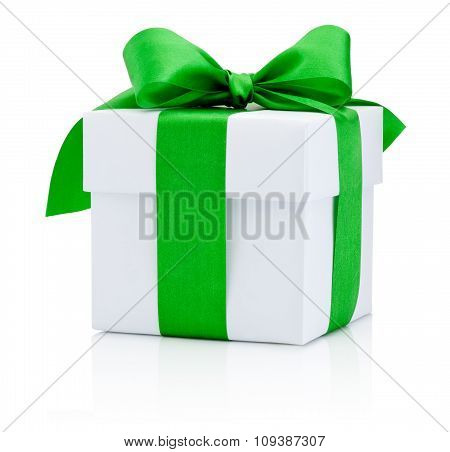 White Gift Box Tied Green Ribbon Isolated On White Background