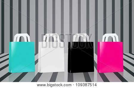 sale, consumerism and advertisement concept - many blank shopping bags blue, white, black and pink color over gray striped 3d background