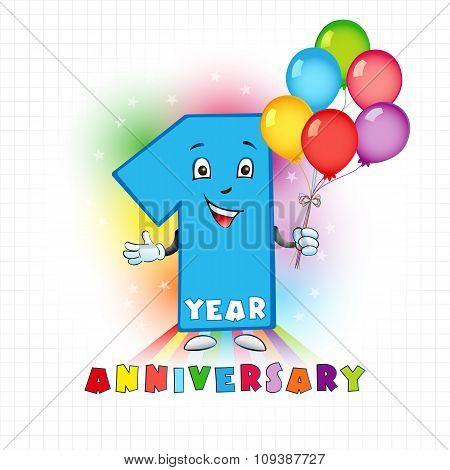 1 anniversary funny logo.