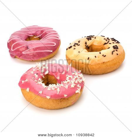 Delicious doughnuts isolated on white background
