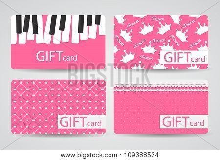 Abstract Beautiful Gift Card Design Set, Vector Illustration.