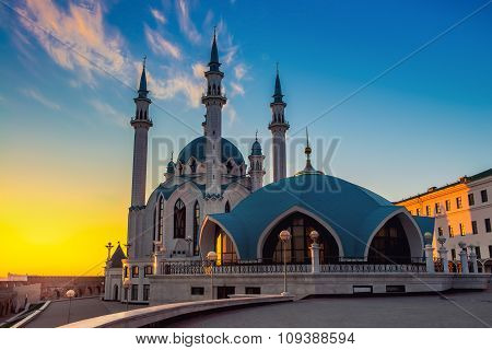 Qol Sharif Mosque At Sunset In Kazan