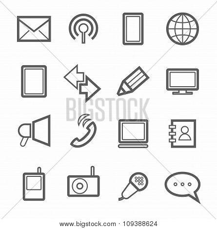 Communication, Icons, Monochr...