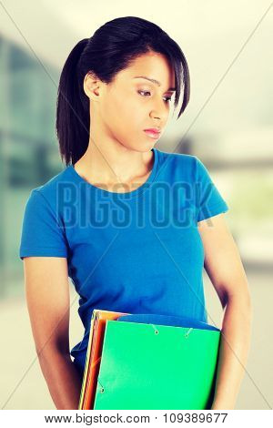 Upset student woman with depression