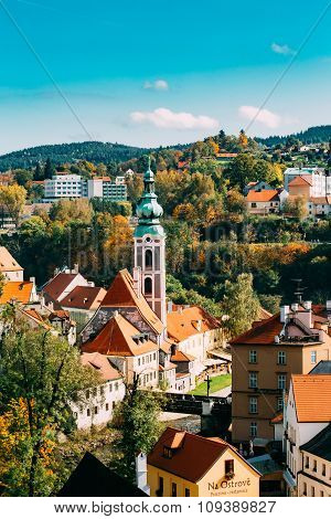 Cityscape of Cesky Krumlov, Czech republic. Sunny autumn day