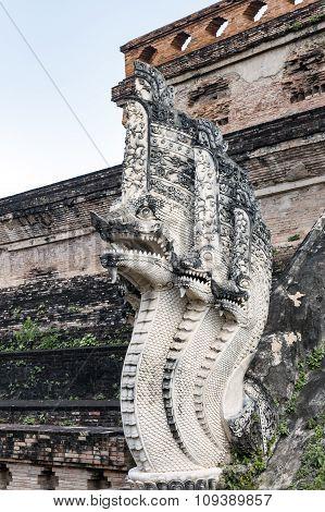 Buddhist temple with mythological figures