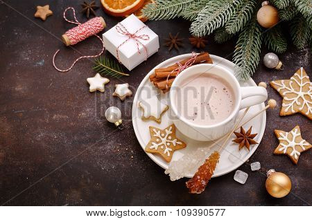 Homemade Gingerbread Cookies And Hot Chocolate