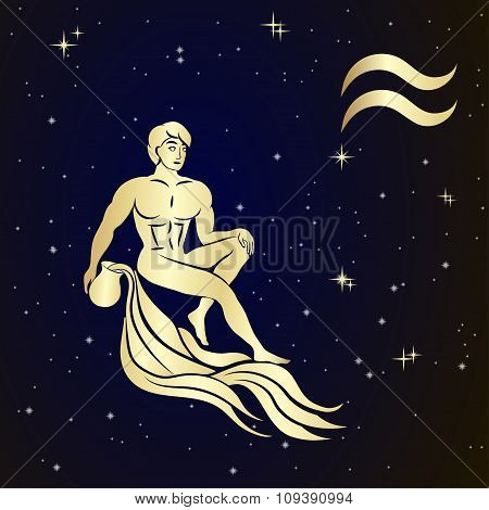 Zodiac Aquarius is the starry sky