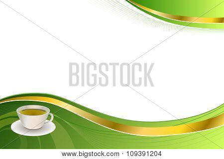 Abstract background green tea gold tape vector