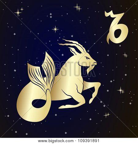 Capricorn zodiac sign in circle frame