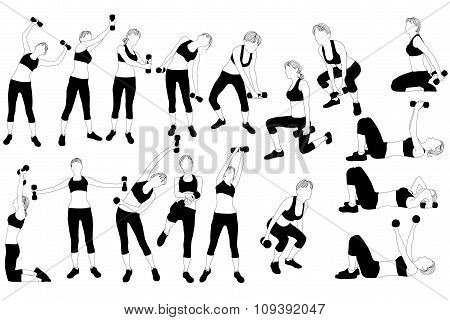 Collectoin of silhouette of woman doing exercise with dumbbells.