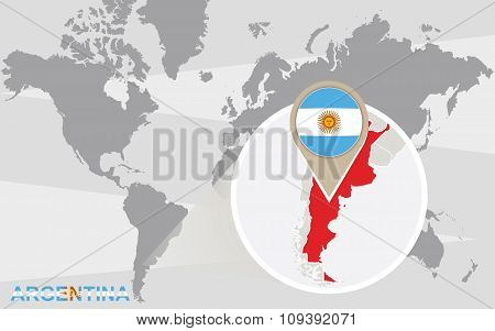 World Map With Magnified Argentina