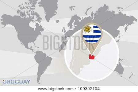 World Map With Magnified Uruguay