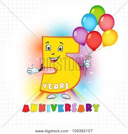 5 anniversary funny logo.