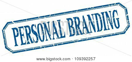 Personal Branding Square Blue Grunge Vintage Isolated Label