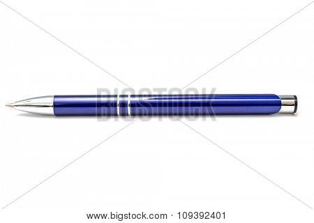 Blue ballpoint pen on white