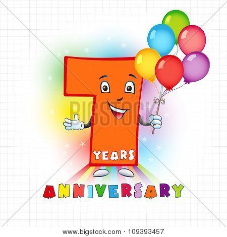 7 anniversary funny logo.
