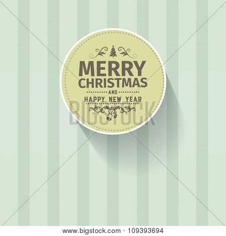 Retro vintage simple Merry Christmas vector greeting green card with Happy New Year wish greeting