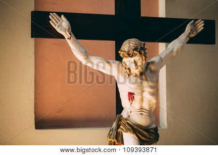 The statue of the crucified Christ on the cross. The Christian c