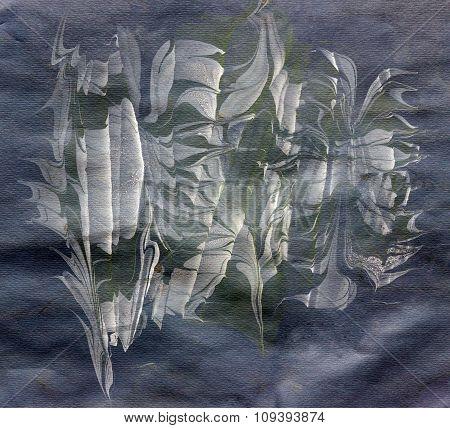 White Ebru On Black Paper