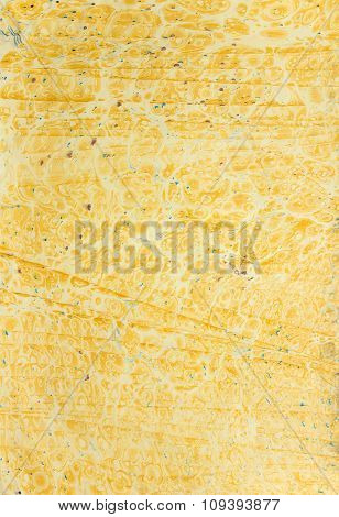 Yellow Ebru With Bubbles And Lines