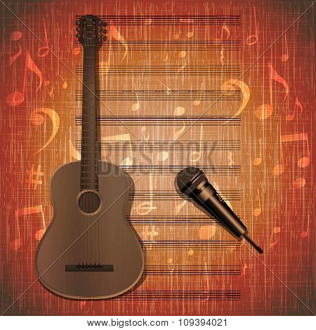 Musical Background Guitar Frame And Microphone