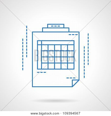 Blue flat line spreadsheet vector icon