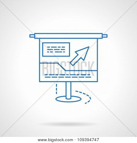 Blue flat line online presentation vector icon