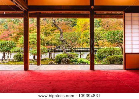 NARA, JAPAN - OCTOBER 19, 2015: The garden from Shoryaku-ji Temple in Nara.
