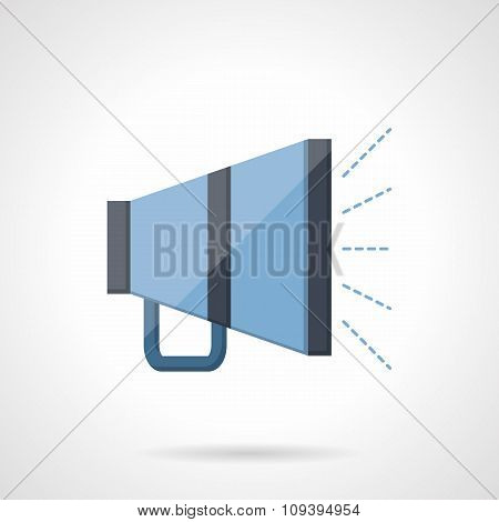 Blue megaphone flat vector icon.