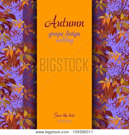 Autumn grape with orange leaves background. Vertical border wedding design.