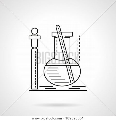 Flat black line laboratory test vector icn