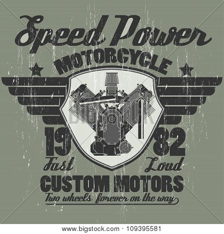 Motorcycle engine, riders team emblem graphic design